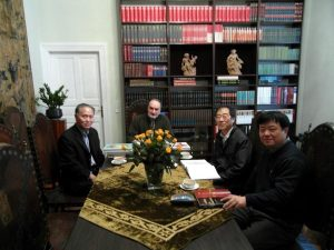 Sun Zhongli - Deputy Director of the Confucius Institute in Krakow, dr. Józef Grabski, prof. Mr. Yaochang - Shanghai University, prof. Li Chao - Shanghai University College of Fine Arts